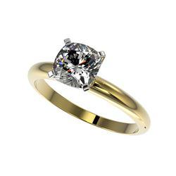1.25 ctw Certified VS/SI Quality Cushion Cut Diamond Ring 10K Yellow Gold