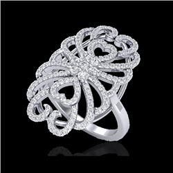 2.25 ctw Micro Pave VS/SI Diamond Designer Ring 18K White Gold