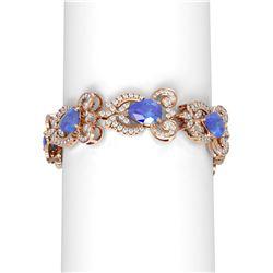 28.85 ctw Tanzanite & Diamond Bracelet 18K Rose Gold