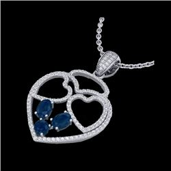 3 ctw Sapphire & Micro Pave Designer Heart Necklace 14K White Gold
