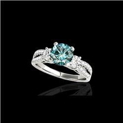 1.75 ctw SI Certified Fancy Blue Diamond 3 Stone Ring 10K White Gold