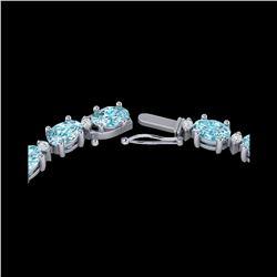 61.85 ctw Sky Blue Topaz & VS/SI Certified Diamond Necklace 10K White Gold