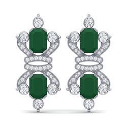 27.36 ctw Emerald & VS Diamond Earrings 18K White Gold