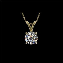 .77 ctw Certified Quality Diamond Solitaire Necklace 10K Yellow Gold
