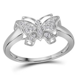 10kt White Gold Round Diamond Butterfly Bug Cluster Fashion Ring 1/12 Cttw