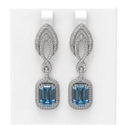 12.08 ctw Blue Topaz & Diamond Earrings 18K White Gold