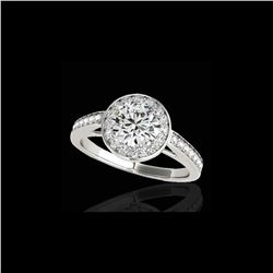1.45 ctw Certified Diamond Solitaire Halo Ring 10K White Gold