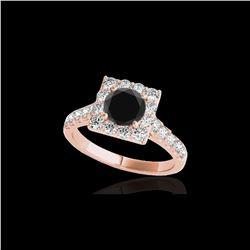 2.5 ctw Certified VS Black Diamond Solitaire Halo Ring 10K Rose Gold