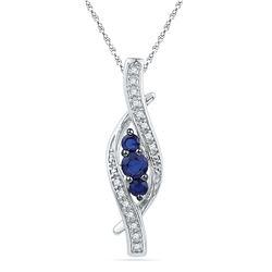 10kt White Gold Round Lab-Created Blue Sapphire 3-stone Diamond-accent Pendant 1/20 Cttw