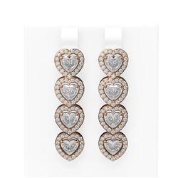6.55 ctw Heart Diamond Earrings 18K Rose Gold
