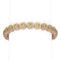 16.38 ctw Fancy Yellow Diamond Bracelet 18K Rose Gold
