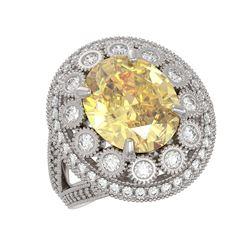 7.87 ctw Canary Citrine & Diamond Victorian Ring 14K White Gold