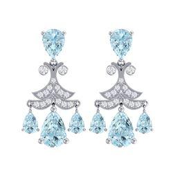 11.35 ctw Sky Topaz & VS Diamond Earrings 18K White Gold