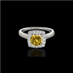 1.37 ctw Certified SI/I Fancy Intense Yellow Diamond Ring 10K White Gold