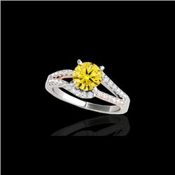 1.4 ctw Certified SI Fancy Yellow Diamond Solitaire Ring 10K White & Rose Gold