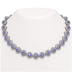 83.82 ctw Tanzanite & Diamond Victorian Necklace 14K White Gold