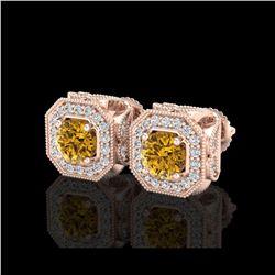 2.75 ctw Intense Fancy Yellow Diamond Art Deco Earrings 18K Rose Gold