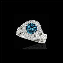 1.75 ctw SI Certified Fancy Blue Diamond Halo Ring 10K White Gold