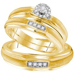 Yellow-tone Sterling Silver His & Hers Round Diamond Solitaire Matching Bridal Wedding Ring Band Set