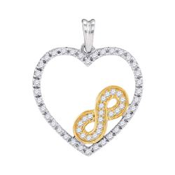 10kt Two-tone Gold Round Diamond Nested Infinity Heart Pendant 1/4 Cttw