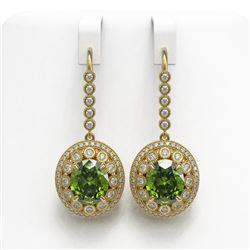 15.02 ctw Tourmaline & Diamond Victorian Earrings 14K Yellow Gold