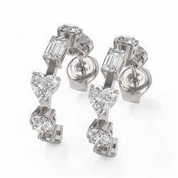 4.2 ctw Mix Cut Diamonds Designer Earrings 18K White Gold
