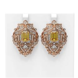 12.35 ctw Canary Citrine & Diamond Earrings 18K Rose Gold