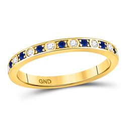 10kt Yellow Gold Round Blue Sapphire Diamond Alternating Stackable Band Ring 1/4 Cttw