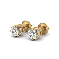 3 ctw VS/SI Diamond Solitaire Art Deco Stud Earrings 18K Yellow Gold