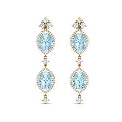 16.41 ctw Sky Topaz & VS Diamond Earrings 18K Yellow Gold