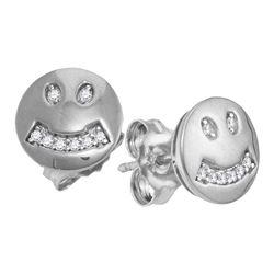 10kt White Gold Round Diamond Smiley Face Screwback Earrings 1/20 Cttw