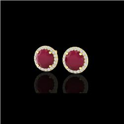 4 ctw Ruby & Halo VS/SI Diamond Certified Micro Earrings 18K Yellow Gold