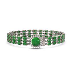 20.93 ctw Jade & Diamond Bracelet 14K White Gold