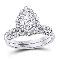 14kt White Gold Pear Diamond Milgrain Bridal Wedding Ring Band Set 1-1/3 Cttw