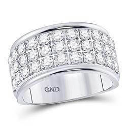 10kt White Gold Round Diamond Triple Row Band Ring 3/4 Cttw