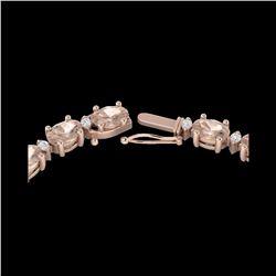 25 ctw Morganite & VS/SI Diamond Eternity Necklace 10K Rose Gold