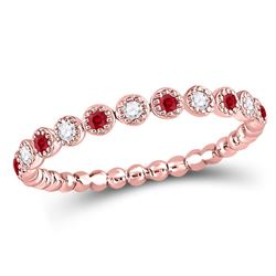 10kt Rose Gold Round Ruby Diamond Beaded Dot Stackable Band Ring 1/6 Cttw