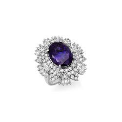 13.25 ctw Tanzanite & Diamond Ring 18K White Gold