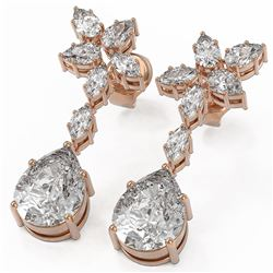 5 ctw Pear and Marquise Cut Diamond Earrings 18K Rose Gold