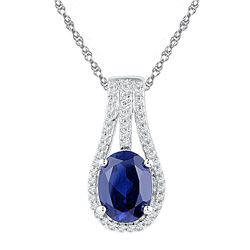 Sterling Silver Oval Lab-Created Blue Sapphire Solitaire Pendant 1-3/4 Cttw