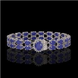 30.12 ctw Sapphire & Diamond Bracelet 14K White Gold