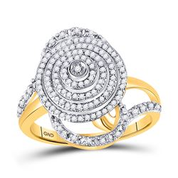 10kt Yellow Gold Round Diamond Concentric Circle Layered Cluster Ring 1/2 Cttw