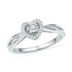 10kt White Gold Round Diamond Heart Solitaire Ring 1/8 Cttw