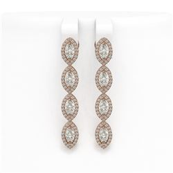 4.52 ctw Marquise Cut Diamond Micro Pave Earrings 18K Rose Gold