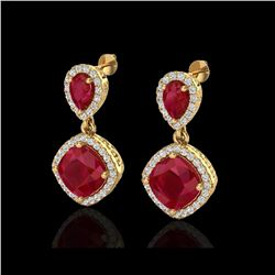 7 ctw Ruby & Micro Pave VS/SI Diamond Earrings Designer 10K Yellow Gold