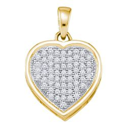 10kt Yellow Gold Round Diamond Small Simple Heart Pendant 1/5 Cttw