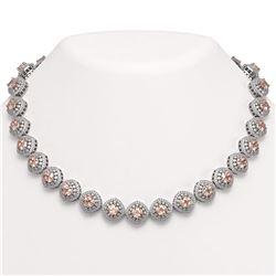 68.97 ctw Morganite & Diamond Victorian Necklace 14K White Gold