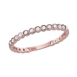 14kt Rose Gold Round Diamond Bezel Set Stackable Band Ring 1/5 Cttw