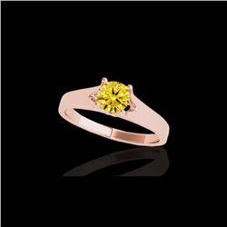 1 ctw Certified SI/I Fancy Intense Yellow Diamond Ring 10K Rose Gold