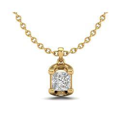 1.25 ctw Princess VS/SI Diamond Art Deco Necklace 18K Yellow Gold